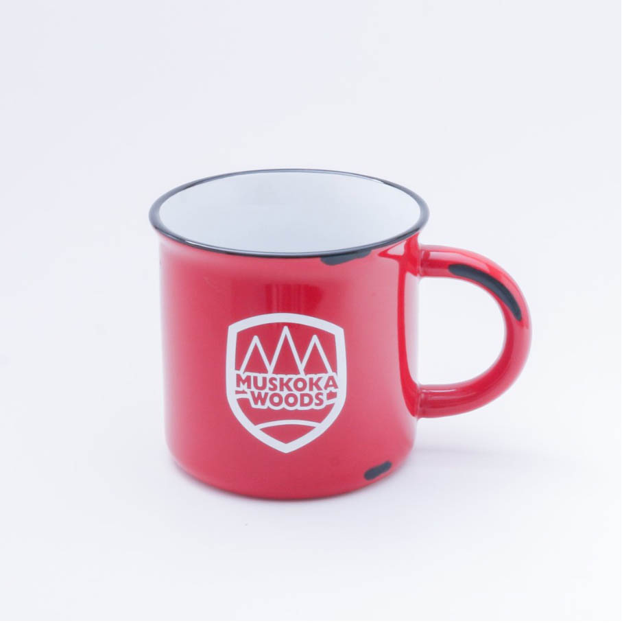 A red mug with white interior